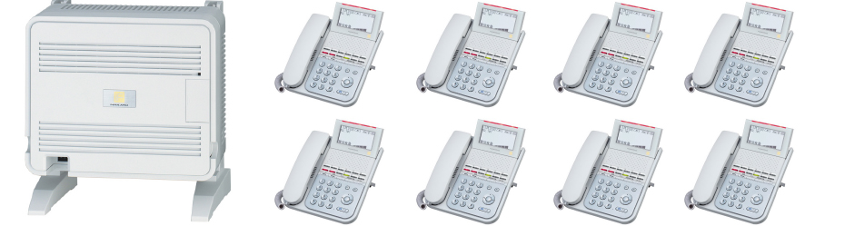 交換機+装置基盤(ユニット)+電話機8台セット