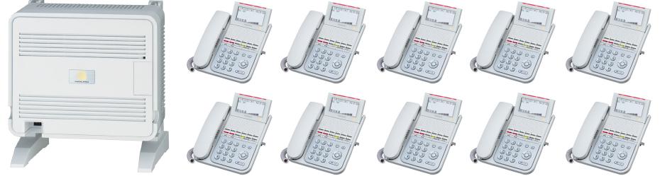 交換機+装置基盤(ユニット)+電話機10台セット